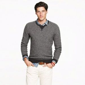 J. Crew 100% Lambswool Gray Black Crew Men's Sweater